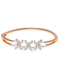 Artificial Pearl And Rhinestone Flower Wrap Bracelet - Rosa De Oro