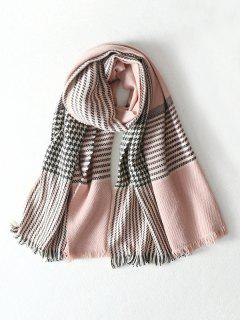 Houndstooth Color Block Shawl Scarf - Pink