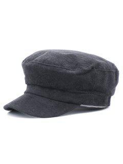 Corduroy Solid Color Newsboy Hat - Black