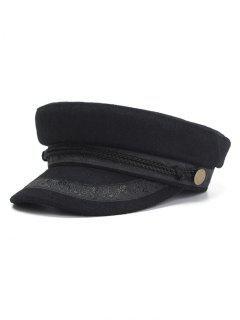 Button Embellished Military Hat - Black