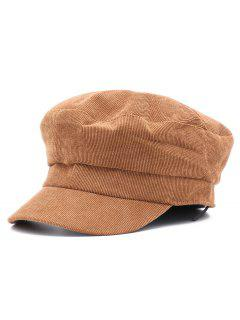 Corduroy Solid Color Newsboy Hat - Brown