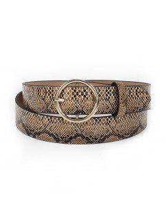 Snake Pattern Round Buckle Waist Belt - Brown