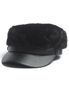 Solid Color Fuzzy Military Hat - Black