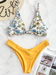 ZAFUL Bikini Plongeant Floral - Jaune Clair L