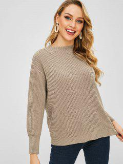 Drop Shoulder Loose Boyfriend Sweater - Tan