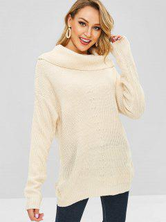 Plain Cowl Neck Sweater - Beige
