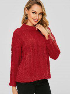Cable Knit Solid Sweater - Red