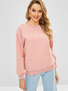 Drop Shoulder Fleece Lining Sweatshirt - Pink