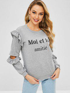 Letters Cutout Ruffles Pullover Sweatshirt - Gray Cloud S