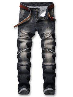Pleated Faded Biker Jeans - Black 34