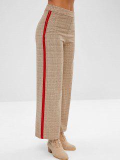 ZAFUL Plaid Velvet Trim Wide Leg Pants - Light Khaki S
