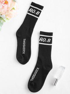 Contrasting Graphic Crew Socks - Black