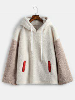 Color Block Teddy Oversized Hoodie - Warm White