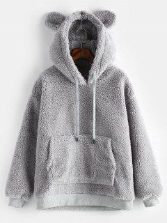 Pouch Pocket Winter Fleece Hoodie - Gray Cloud L