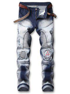 Embroidery Patchwork Ripped Pleated Faded Jeans - Lapis Blue 32