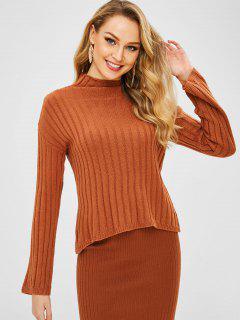 Einfacher Pullover Mit Hohem Kragen - Lachsfarbe