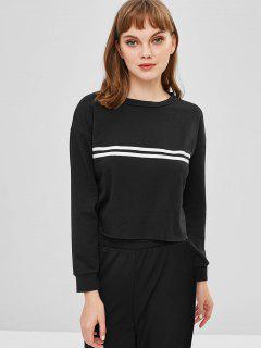 Striped Cropped Pullover Sweatshirt - Black L