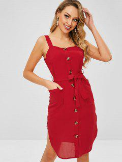 ZAFUL Belted Pockets Button Up Dress - Cherry Red L