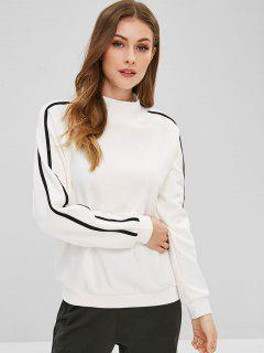 Striped Letter Raglan Sleeve Sweatshirt - White M