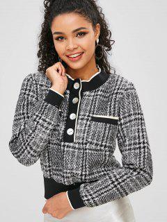 Half-button Tweed Sweatshirt - Multi-a S