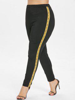 Letter Patch Plus Size Pants - Black 2x