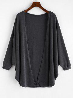 Open Front Batwing Sleeve Cardigan - Gray