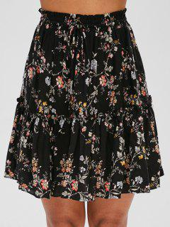 Drawstring Floral Skirt - Black M