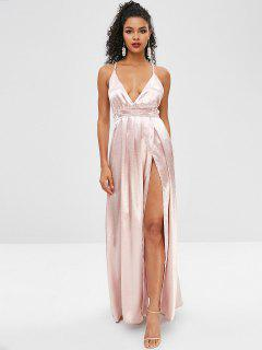 Plunging Surplice Dress With Backless - Sakura Pink L