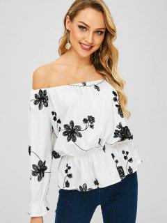 Off Shoulder Blouse With Embroidered - White S