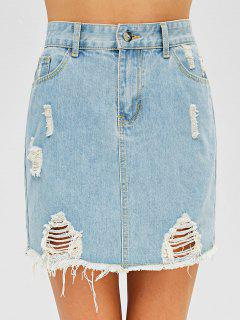 Raw Hem Ripped Denim Skirt - Jeans Blue Xl