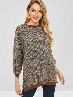 Pullover Asymmetric Slit Sweatshirt - Oak Brown