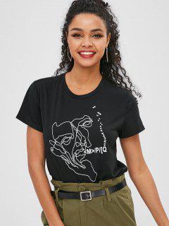 T-shirt Graphique Avec Lettres à Manches Courtes - Noir M