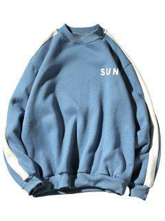 Sweat-shirt Lettre Rayé Contrasté En Laine - Bleu Hosta Xl