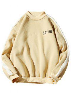 Contrast Letter Stripe Fleece Sweatshirt - Sun Yellow M