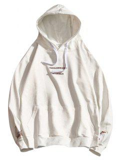 Letter Embroidery Drawstring Hoodie - White Xs