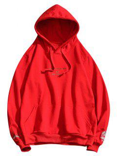 Letter Embroidery Drawstring Hoodie - Lava Red S