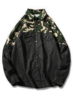 Camisa Con Bolsillo En El Pecho De Camo - Negro M
