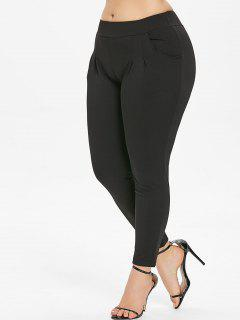 Plus Size Mid Waist Plain Pants - Black L