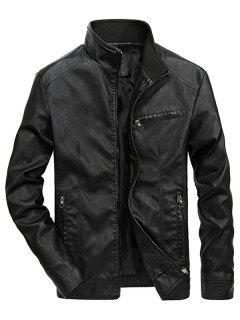 Solid Zipper PU Jakcet - Black Xs