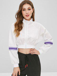 Striped Patched Zip Up Crop Sweatshirt - White L