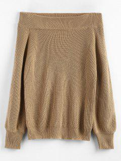 Off The Shoulder Lantern Sleeve Pullover Sweater - Camel Brown