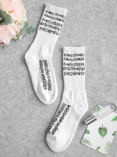Graphic Contrast Hiking Crew Socks - White