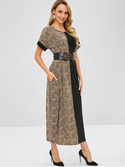 Casual robe léopard maxi - Noir L Mobile