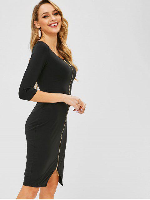 fancy Zip Up Fleece Bodycon Dress - BLACK XL Mobile