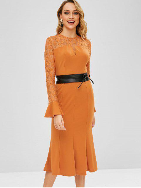 Robe sirène moulante en dentelle à manches évasées - Orange de Lever du Soleil XL Mobile