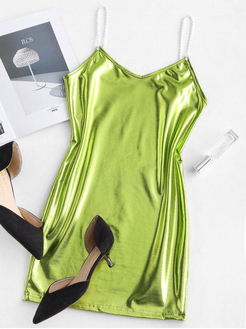 women Metallic Cami Mini Party Dress - SALAD GREEN M Mobile