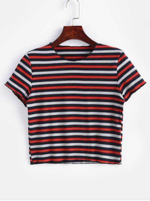 affordable Striped Ribbed Cropped Tee - MULTI L Mobile