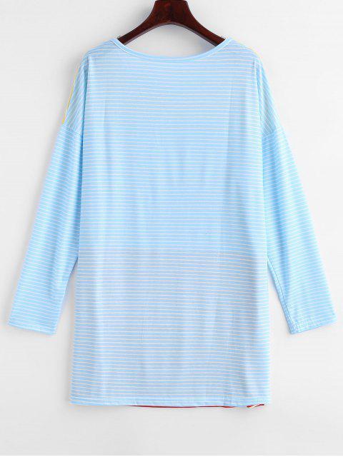 chic Striped Tunic Drop Shoulder Tee - MULTI-A L Mobile