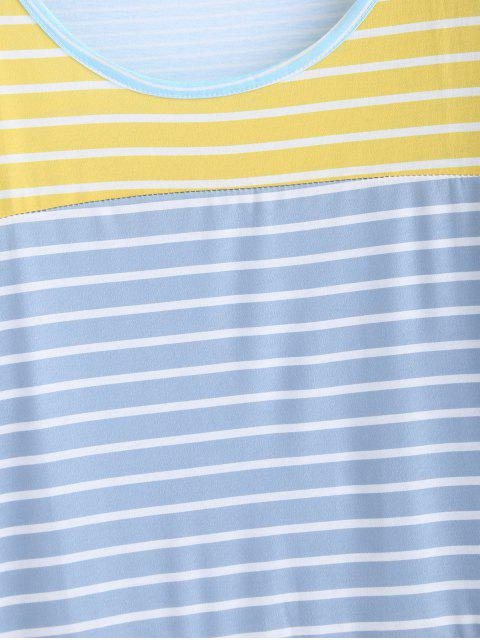 buy Striped Tunic Drop Shoulder Tee - MULTI-A M Mobile