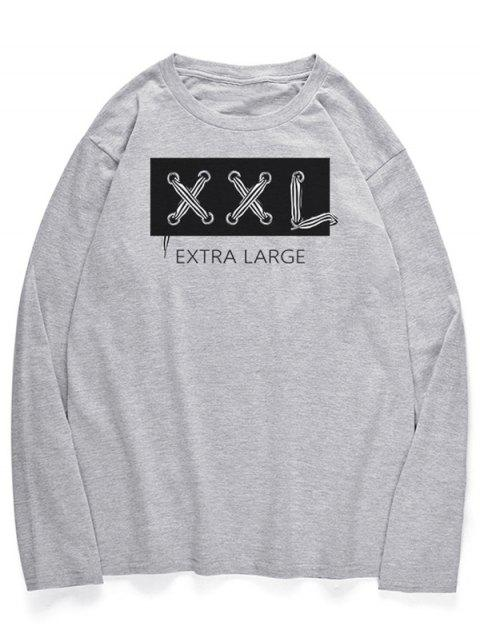 women Letters Graphic Long Sleeves Crew Neck Shirt - LIGHT GRAY XL Mobile